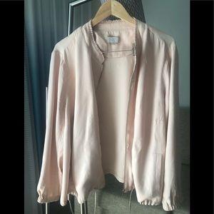 LOFT light pink/blush silky bomber jacket
